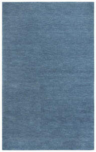 5x8 Rizzy Rugs Blue Solid Tufted Wool Achromatic Area Rug