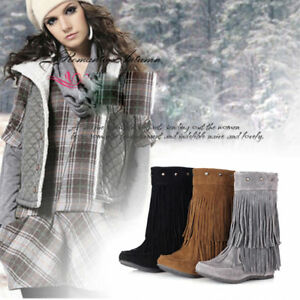 Womens-Retro-Fringe-Boots-Flat-Short-Ankle-Wedge-Boots-Tassels-Shoes-Plus-Size