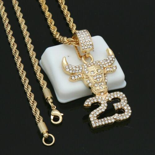 "Fully Cz #23 Bull Pendant 14k Gold PT Choker Chain twist Rope 24/"" Link"