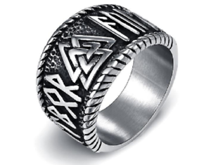 Mens-Ring-Titanium-Stainless-Steel-Nordic-Viking-Runes-Punk-Amulet-Jewelry-Rings