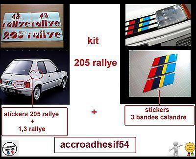 STICKER SET DE BANDES CALANDRE COFFRE PEUGEOT 205 SPORT GTI AUTO BA223+224
