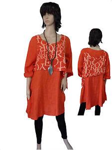 Talla-42-44-48-50-2-divisores-lino-tunica-vestido-de-verano-con-atornillamiento-Orange-Lagenlook
