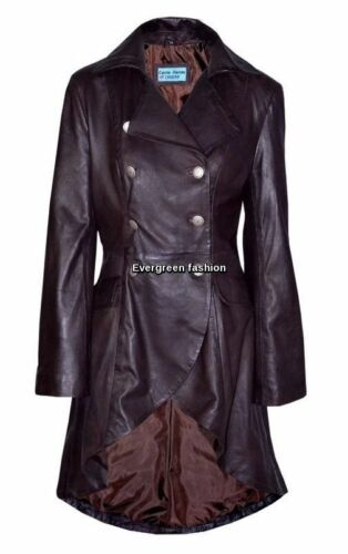 Leather Gothic Brown Real Coat Jacket Laced Ladies Edwardian Rockstar Washed AzTXTq