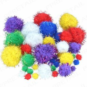 GLITTER-CRAFT-POM-POMS-Various-Colours-Sizes-Fluffy-Tinsel-Balls-Kids-Activities