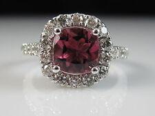 14K Pink Tourmaline Diamond Halo Ring White Gold Cushion Fine Designer Size 7