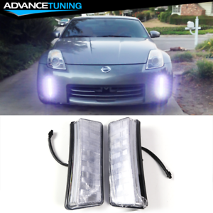 Fits 03 05 Nissan 350z Front Bumper Clear Led Drl Reflector Fog Lights Lamps 2pc Ebay