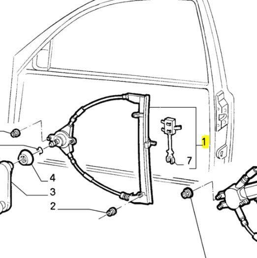 Fiat Punto 3-Türer Electric Window Regulator 46459545 09//93-09//99 Right 176