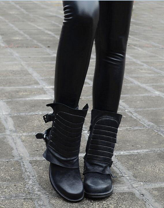 mujer Retro Punk Motorcycle Cowboy Mid-Calf bota Buckle Vintage Leather zapatos U6