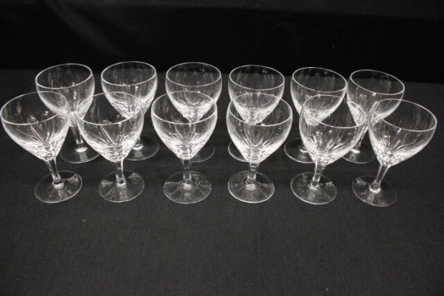 "Set of 12 Josair Josephine Hutte DORETTE Cut Crystal 5"" Wine Glasses, Germany"