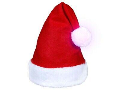 114 Weihnachtsmütze leuchtender Bommel Nikolausmütze LED Weihnachtsmannmütze