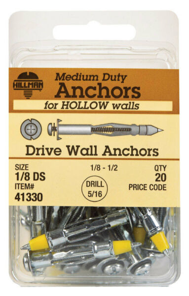 The Hillman Group 41328 Drive Wall Anchor 1//8 Long Drive 20-Pack