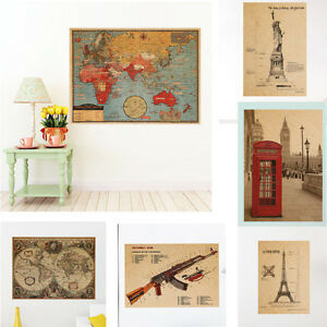 World map home decor retro poster vintage paper globe earth tourist image is loading world map home decor retro poster vintage paper gumiabroncs Image collections