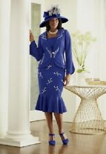 Ashro  Cornflower Blue Dominique Jacket Dress Church Dinner Size 6 20W PLUS
