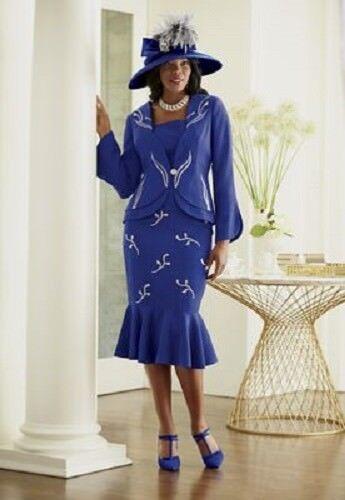6 Skirt Royal 14 Liana Church Silver Dress Suit Dinner Blue Formal Ashro Party HSwqfR6Py