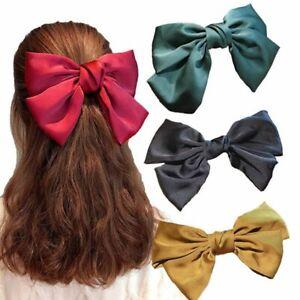 Large-Bow-Chiffon-Hairpin-Barrette-Elastic-Claw-Women-Hair-Accessories-Handmade