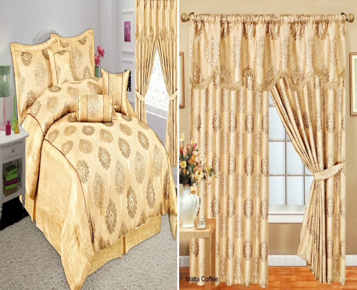 Curtain Ready Made Pair Fully Lined Pelmet & 7Pcs Bedspread Set Glitter Jacquard