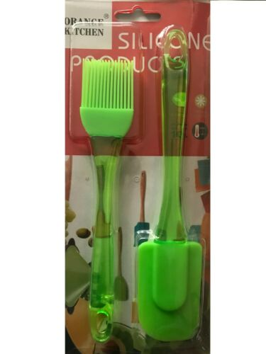 NEW SILICONE SPATULA PASTRY BRUSH SET KITCHEN UTENSIL SET green 2pc