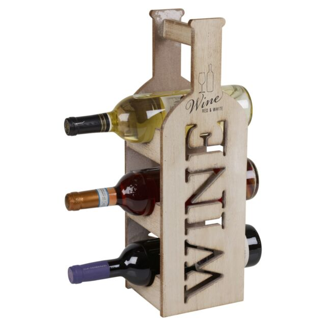Wooden 3 Tier Wine Rack Bottle Holder Shabby Chic Standing Table Top