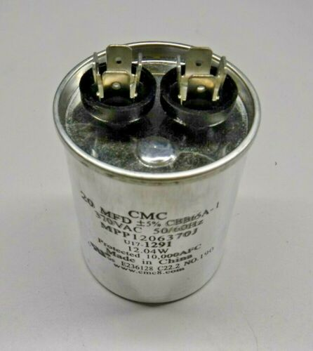 "CMC MPP1206370J 20 MFD, 10,000 AFC CBB65A-1 Protected Round Capacitor /""NEW/"""