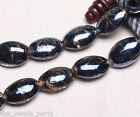 10pcs 25x18mm Lampwork Glass Handmade Oval Finding Loose Spacer Beads Black New