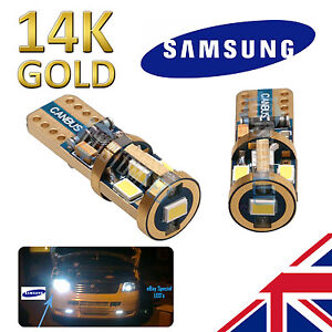 2-x-SUPER-BRIGHT-14K-Gold-Samsung-501-LED-Bulbs-Side-Plate-Canbus-W5W-501-T10