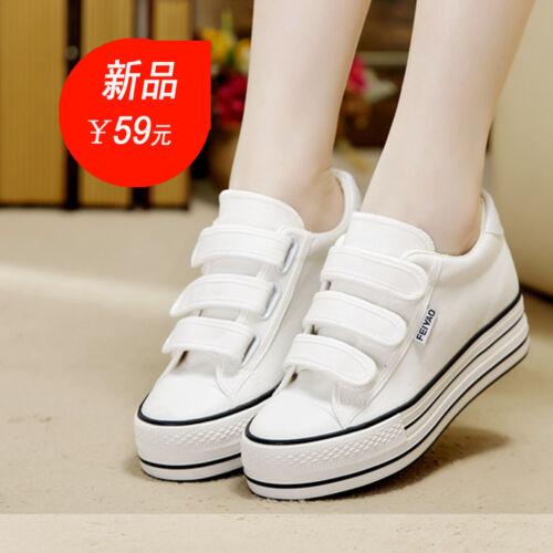 Women  Hidden Heel Canvas comfort Loafers Sneakers Plimsolls Shoes Platform Chic