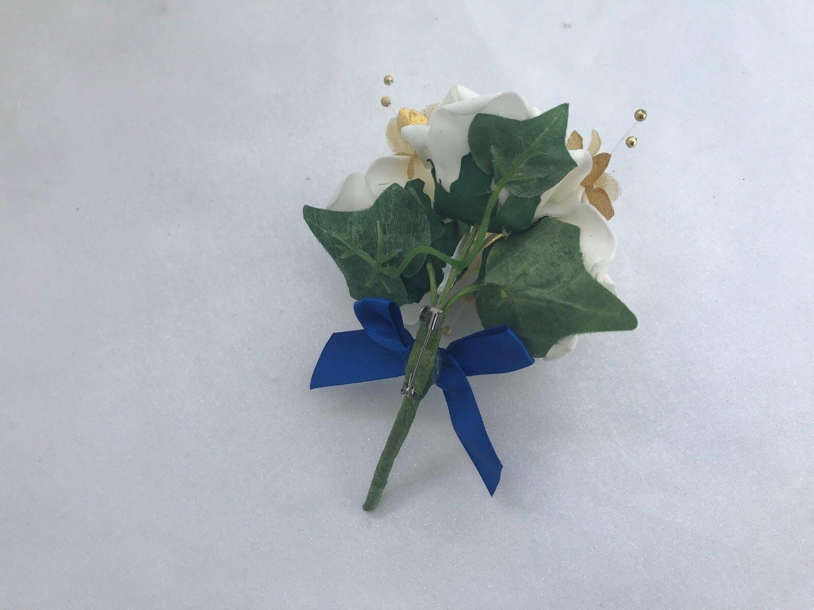 Nozze Fiori Avorio oro Royal Blu Bouquet Sposa, Sposa, Sposa, Damigella D'OnOre Fiore-Ragazza Bacchetta 701d2d