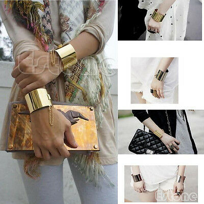 Fashion Women Wide Mirror Metallic Stunning Girl Chains Bangle Punk Bracelet