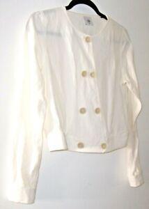 Cabi Piazza Jacket Linen Blend Blazer White Style 5096 Women's Size XS Cropped