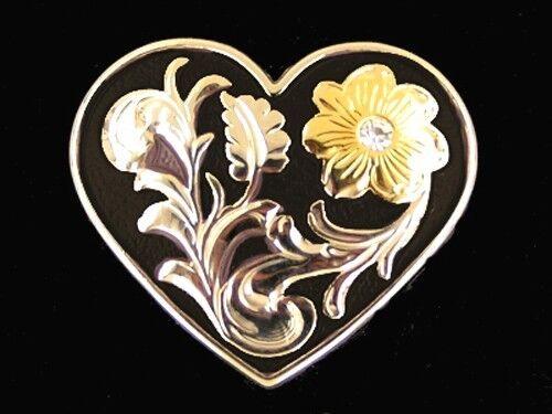 """Western Equestrian Decor Silver Heart Gold Flower W/Crystal 1 1/2"""" Concho"""