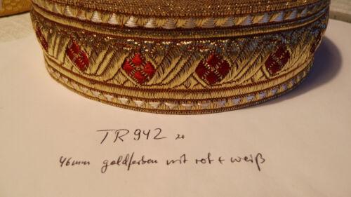 TR942 Bordüre Tresse Mittelalter Trachten golden rot weiß 46mm 1Meter