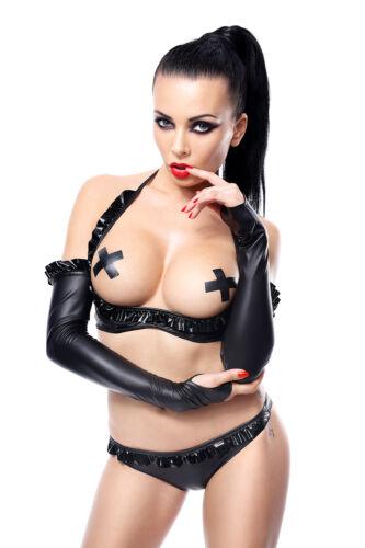 DEMONIQ GETRUDE STULPEN  gothic schwarz wetlook  clubwear lack pvc armstulpen