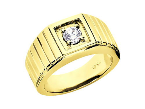 0.25Ct Round Cut Solitaire Mens Wedding Band Ring 18K Yellow Gold G SI1 Prong