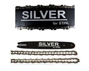 35cm-Schwert-3-8P-2-Ketten-Silver-passend-fuer-Stihl-023-MS230-MS-230