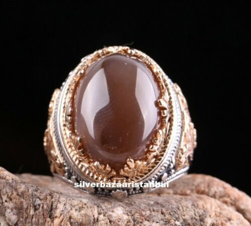 Natural Stone Yemeni Agate Aqeeq Turkish 925 Sterling Silver Men Ring ALL SİZE 2
