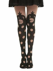 HOT-TOPIC-LOVESICK-DUCK-POLKA-DOT-FAUX-THIGH-HIGH-TIGHTS-SMALL-MED-86337