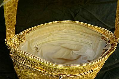 Kroko Tasche gold groß 29 x 27 x 7 cm Handtache Shopper EFFEKTVOLL
