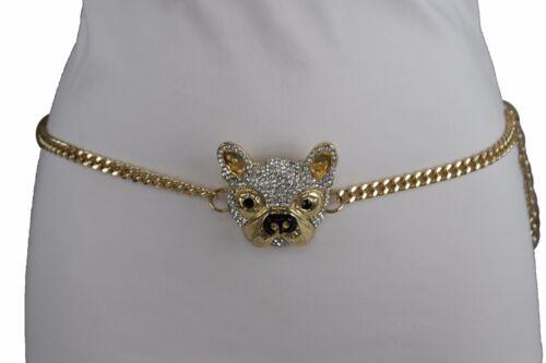 Women Thick Gold Metal Chain Links Fashion Belt High Waist Hip Dog Buckle M L XL