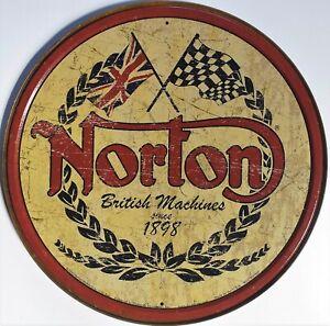 PLAQUE-METAL-publicitaire-vintage-MOTO-logo-NORTON-30-cm