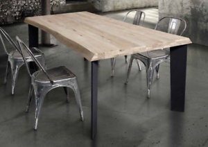 Tavolo Legno E Gambe Ferro.Dettagli Su Tavolo Di Design Moderno In Legno Di Rovere Naturale Scortecciato E Gambe Ferro
