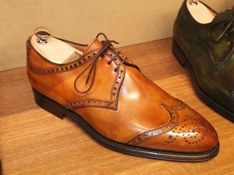 Para Hombre Zapatos Oxford Cuero Tostado Hecho a Mano Estilo Mini punta del ala Derby Bota ropa formal
