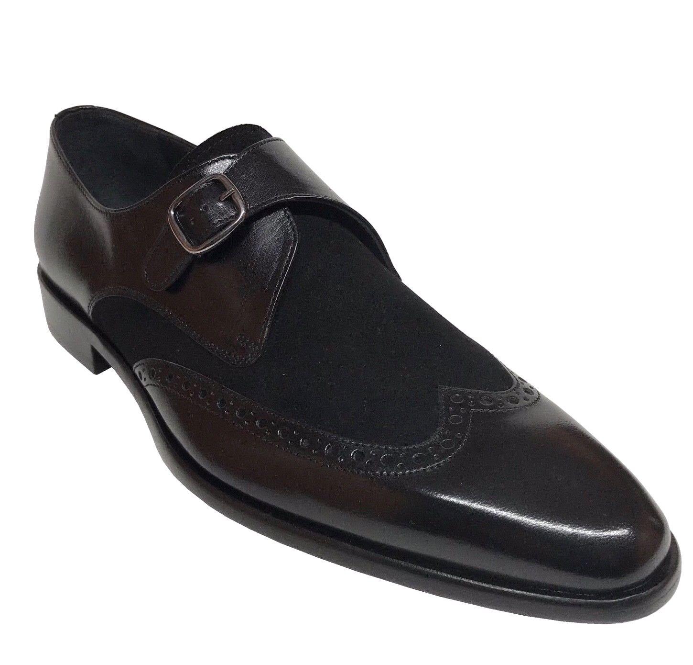 Año De Hombre Cuero Ante de extremo de ala Monje Correa Vestido Zapatos Negro 5072