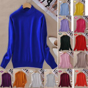 Women-Casual-slim-Pullover-Sweater-Warm-Turtleneck-Thick-Knit-Loose-Jumper-Tops