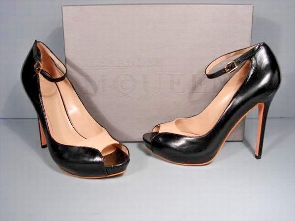 Alexander McQueen McQueen McQueen 38 Black Beige Leather Platform Peep Toe Ankle Strap Pumps e7d5c6