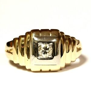 14k-yellow-white-gold-21ct-I1-2-I-diamond-solitaire-mens-ring-4-6g-gents