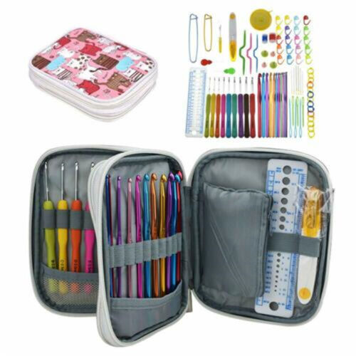 Crochet Hooks Set Ergonomic Soft Grip Handle Knitting Needles Kit with Case Tool