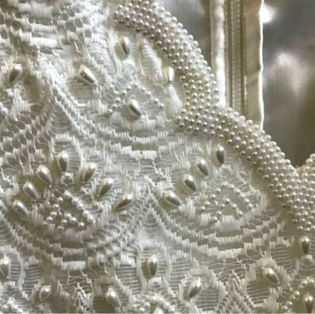 VTG Scala Wedding Dress Lace Beading Sz L Ivory White Gown for Bride / Mother