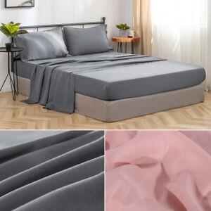4PCS-Bed-Sheet-Set-Extra-Deep-Fitted-Sheet-Flat-Sheet-Soft-Pillowcase-Queen-Size