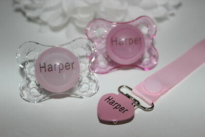 2 x Personalised AVENT Soother/'s  /& Clip 0-6 Months** CAN BE STERILISED *