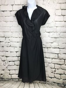 Vintage Ladies Dovani of Dallas Black Faux Wrap Dress With Ruffles  - Size 12